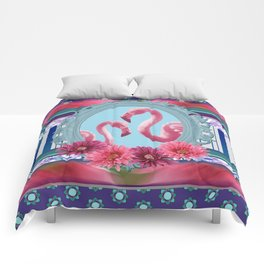 Flamingos in Frame pattern Design Pink violet Comforters