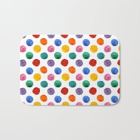 'Happiness and joy', colorful watercolor dots Bath Mat