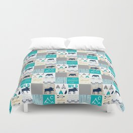Woodland Cabin Decor Cheater Quilt Navy Aqua Grey Duvet Cover