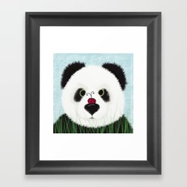 The Panda Bear And His Visitor Framed Art Print
