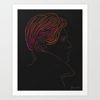 david bowie Art Prints featuring Bowie by Bruno Gabrielli