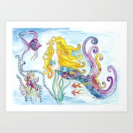 The Blonde Mermaid Art Print
