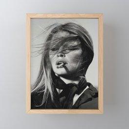 Brigitte Bardot Smoking a Cigarette, Black and White Photograph Framed Mini Art Print