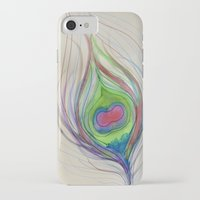 peacock feather iPhone & iPod Cases featuring Peacock Feather by Aries Art