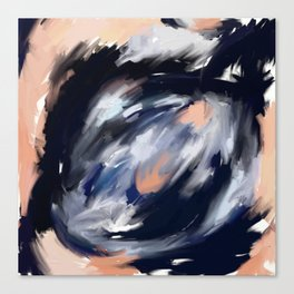 storm's eye - an abstract painting in peach, blue, white and black. Canvas Print