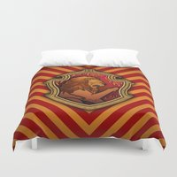 gryffindor Duvet Covers featuring Hogwarts House Crest - Gryffindor by Teo Hoble