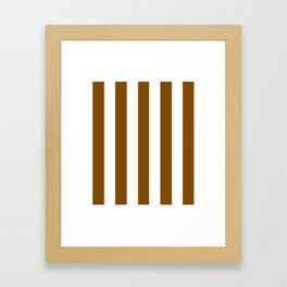 Dark bronze brown - solid color - white vertical lines pattern Framed Art Print
