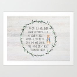 Moms Love w/Weathered wood background Art Print