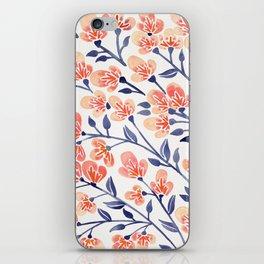 Cherry Blossoms – Peach & Navy Palette iPhone Skin