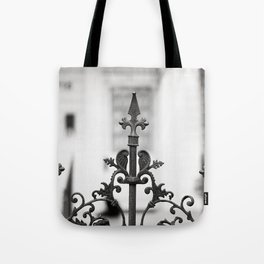 New Orleans Marigny Black and White Fence Tote Bag