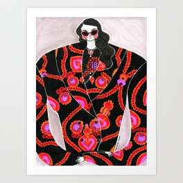 Anna Sui Girl in Fall 2018 – Original Fashion art, Fashion Illustration, Fashion wall art Art Print