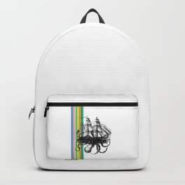 Kraken Attacking ship on Colorful Stripes Backpack