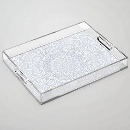 Light Gray Ethnic Eclectic Detailed Mandala Minimal Minimalistic Acrylic Tray