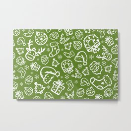 XMAS Green Pattern / Part Two Metal Print
