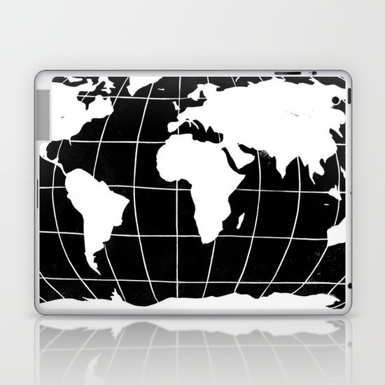 Map of the World in Black Laptop & iPad Skin