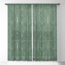 Art Deco in Gold & Green - Large Scale Sheer Curtain