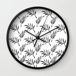 White and Black Leaf Design Wall Clock