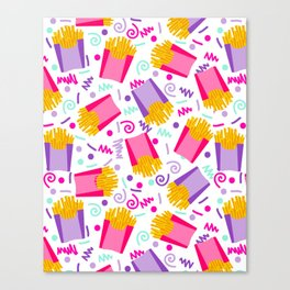 French Fries junk food party time razzle neon bright happy fun kids children pop art pattern foods Canvas Print