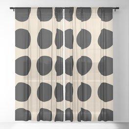 Irregular Polka Dots black and cream Sheer Curtain
