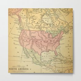 North America Vintage Map Metal Print