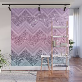Unicorn Glitter Chevron #1 #pastel #shiny #decor #art #society6 Wall Mural