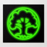 magic the gathering Canvas Prints featuring Magic the Gathering, Neon Green Mana by Thorn Blackstar