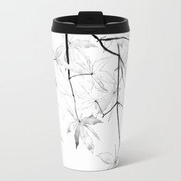 black and white maple leaves Travel Mug