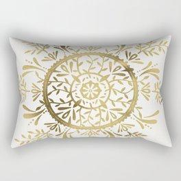 Leaf Mandala – Gold Palette Rectangular Pillow