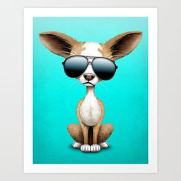 Cute Chihuahua Puppy Wearing Sunglasses Art Print