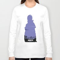 sasuke Long Sleeve T-shirts featuring NARUTO SHIPPUDEN - Sasuke by ReachArt