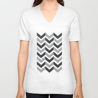 gray pattern V-neck T-shirts featuring Gray Chevron Pattern by magnez2