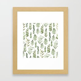 Watercolor leaves Framed Art Print