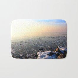 Sunset over Frozen Lake Bath Mat