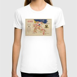 Vintage Omaha Beach D-Day Invasion Map (1945) T-shirt