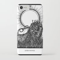 tarot iPhone & iPod Cases featuring Strength Tarot by Corinne Elyse