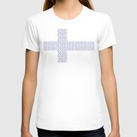 finland T-shirts featuring digital Flag (Finland) by seb mcnulty