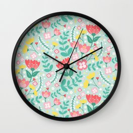 Flower Lovers - Green Wall Clock