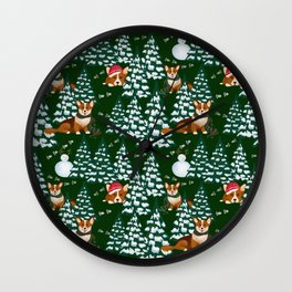 Corgis in the winter mountains - green pattern Wall Clock