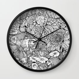 Gold Fish in the Pond, Peaceful Sparrows and Blooming Chrysanthemums by Kent Chua Wall Clock