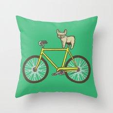 Frenchie on a Fixie Throw Pillow
