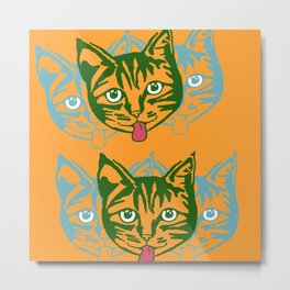 Mollycat Orange Metal Print