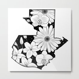 Map of Guatemala with flowers and stars Metal Print