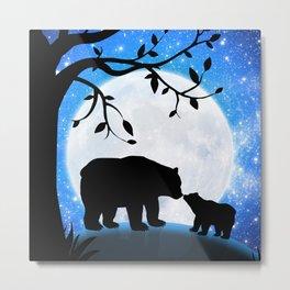 Moon and bears Metal Print