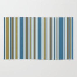 Stripey Design Gold Cream Brown Blues Rug