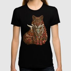Red Fox (Color Version) Womens Fitted Tee Black X-LARGE