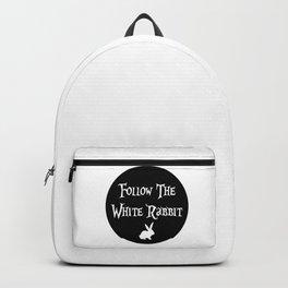Follow the White Rabbit, circle, black Backpack