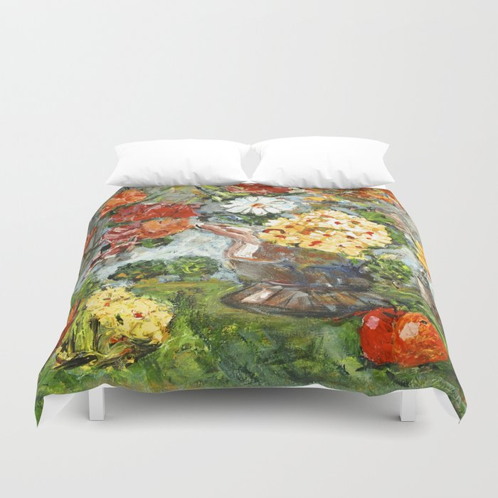 Flowers,  Fruit and a Cathedral Duvet Cover