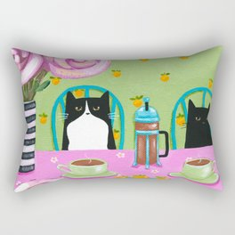 French Press Coffee Cats Rectangular Pillow