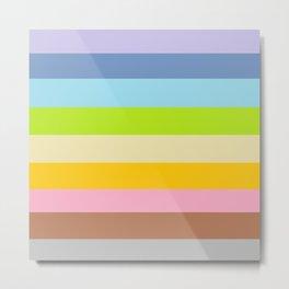 Retro Vintage Inspired Simple Colored Stripes - Pastels Metal Print