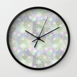 Polygon with snowflakes. Wall Clock